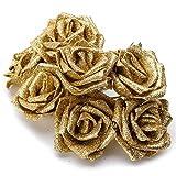 Moligh doll 7Pcs Décor de Roses Artificielles en Mousse Scintillante, Doré