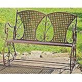 Banc à bascule en métal marron fauteuil à bascule 2 places pour jardin balançoires metallbank vintage 106 x 74 x 87 cm