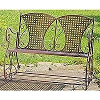 Mecedora banco de metal de hierro marrón mecedora banco 2 plazas para mecerse banco de metal