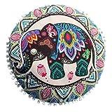 HUHU833 Indische Mandala Kissen, Runde Bohemian Home Kissen Kissenbezug Home Decor 43*43cm (A)