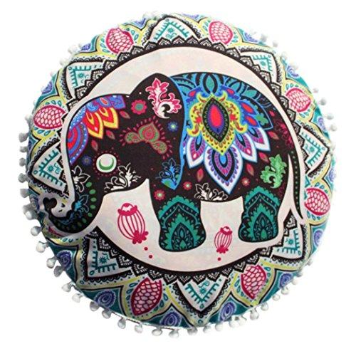HUHU833 Indische Mandala Kissen, Runde Bohemian Home Kissen Kissenbezug Home Decor 43*43cm (A) (Stoff Poly-faser)