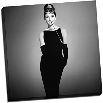 3f83f43e14c3 Audrey Hepburn Black   White Breakfast At Tiffanys Canvas Print Picture  Wall Art Large 20x20 Inches