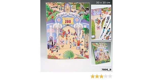 Create your Zoo Malbuch Tiermalbuch Sticker Tiere Tiergarten Auflage ...