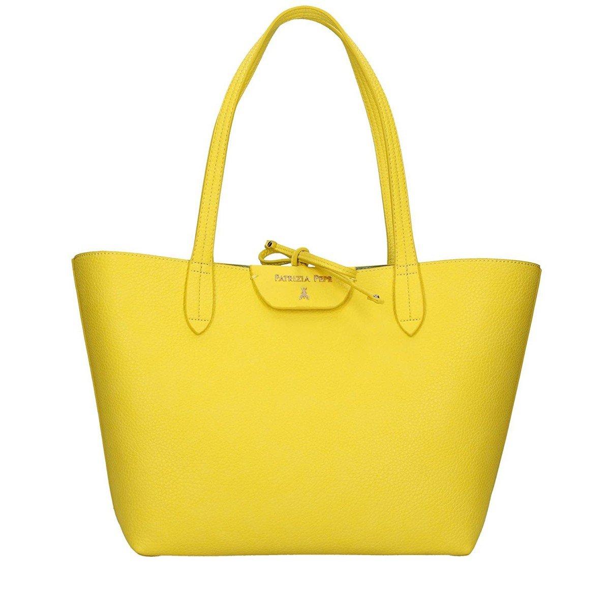 PATRIZIA PEPE Shopping Reversibile 2V5452 Yellow Shiny Azure