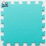 Pure Colour Spielmatten für Kinder Weiche Puzzle Mats EVA-Schaum-Matten Bodenbelag Mats (9tlg, Grün Blau - Green Blue)