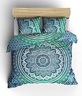 Green Color Ombre mandala Duvet Cover Throw Indian Bedding Quilt Cover Reversible Queen Doona Cover Set