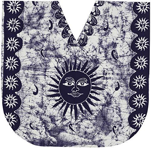 LA LEELA Frauen Damen Baumwolle Kaftan Tunika Batik Kimono freie Größe kurz Midi Party Kleid für Loungewear Urlaub Nachtwäsche Strand jeden Tag Kleider Navy blau_Y21 -