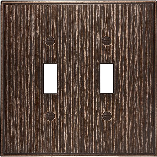 Double Switch Wall Plate (questech Twill strukturiert Metallic Switch Plate/-Auslass Cover Double Toggle Oil Rubbed Bronze)