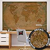 Foto mural map of the world – decoración Mapa del mundo histórico Globo Old school Antiguo Globus old map used look retro vintageI foto-mural foto póster deco pared by GREAT ART (210x140 cm)