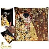 """CARMANI - Foulard, foulard, bandeau pour femme Gustav Klimt peintre """"Le baiser"""" 73x73cm"""
