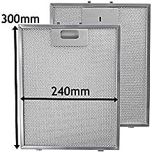 Spares2go filtro, malla metálica para Bosch Neff Siemens Campana de cocina/ventilador de extracción de aire rejilla de ventilación (lote de 2filtros, Plata, 300x 240mm)