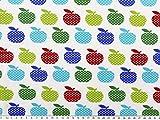 ab 1m: Baumwoll-Jersey, Äpfel, weiß-multicolor, 155cm breit