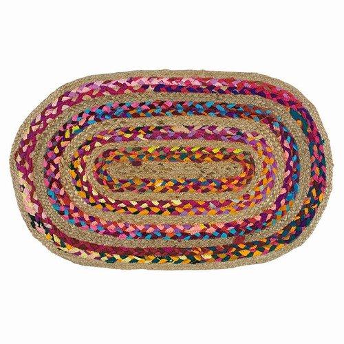 Rose Oval Teppich (WORLDBUYERS Rainbow Rose Geflochten Oval Teppich Baumwolle/Hanf 45,7x 74,3cm L)