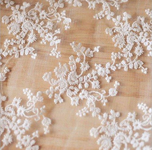 yulakes 1,3Meter encaje serie DIY algodón encaje boda Tela de algodón bordado de encaje pequeños flores para costura y Patchwork 50cm Ancho (blanco)
