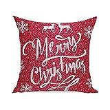 Home Dekoration Loveso Zierkissen Weihnachten Kissenbezug Merry Christmas Briefe Muster Geschenk Sofa Deko Pillowcase (45 x 45 cm, A)