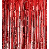 Red 3.2ft x 6.6ft Metallic Tinsel Foil Fringe Curtains for Theme Party Photo Backdrop Wedding Decor
