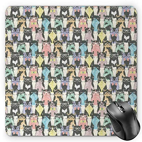Cat Mouse Pad, Pattern with Hipster Playful Feline Characters with Glasses and Bowties Vintage Style Gaming Mousepad Office Mouse Mat Multicolor Vintage Bowties