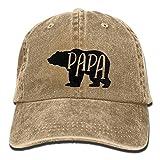 Adult Unisex Cotton Jeans Cap Vintage Adjustable Hat Papa Bear 7 Colors Available