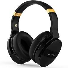 Meidong Bluetooth Headphones, Kabellose Kopfhörer Bluetooth Noise Cancelling Headphones Over Ear Wireless Headset with Mic, HiFi Surround Soft Detachable Ear Pads 20H Playtime [Black]