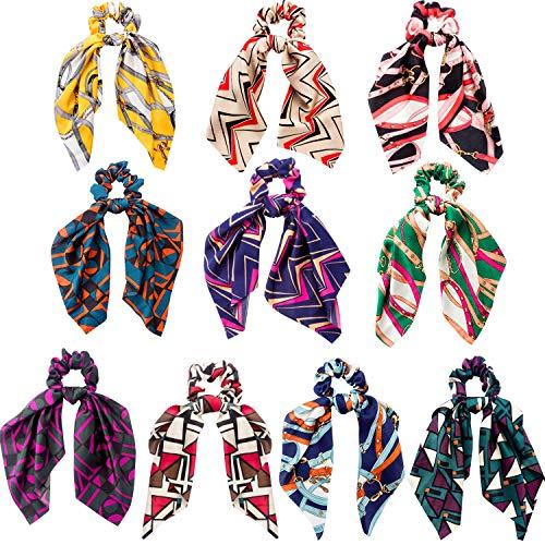 10 pezzi fascette per capelli elastiche fasce per capelli fiori chiffon fermacapelli con cravatta a coda per donne ragazze (stile a)