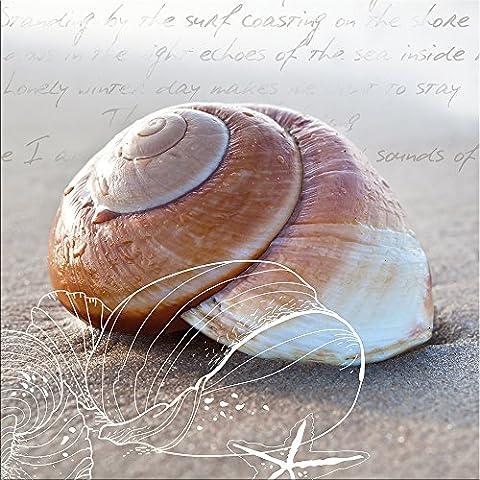 artissimo, Glasbild, 20x20cm, AG1358A, In the sand I, Strand und Meer, Bild aus Glas, moderne Wanddekoration aus Glas, Wandbild Wohnzimmer modern