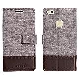 muxma Huawei P10 Lite Textilgewebe Kunstleder Tasche Schutzhülle Handyhülle Visitenkartenfach und Standfunktion (Rote)