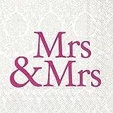 Serviette IHR Motiv: MRS & MRS pink - Hochzeit Frau & Frau pink Cocktail 25x25cm 20 Servietten pro Packung