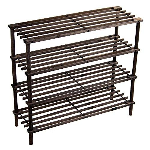 Home Discount 4Etagen/Holz Aufbewahrung Organizer SCHUH Ständer Rack, dunkle Eiche, kostenlose Lieferung