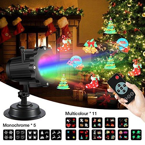 (LED Lichteffekt,SGODDE LED Projektor Lichter,LED Effektlicht mit 16 Motiven,2/4/6 Stunden Timerdynamisch/statisch, 3 Stufen Geschwindigkeiten, innen/außen IP65 Gartenleuchte,Festen,Karneval und Disco)