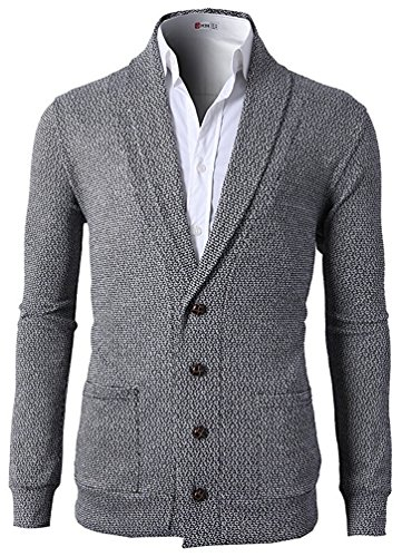 Ghope Herren Pullover Strickjacke Cardigan mit V-Ausschnitt und Knopfleiste langarm Jacke Männer Casual Grau