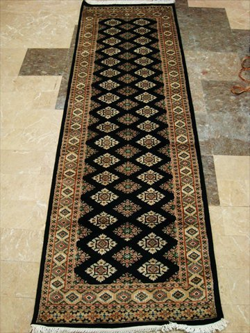 AHMEDANI Exklusive schwarz Jaldar Mahal Elfenbeinfarben Touch handgeknotet Flur Läufer Teppich (8,0x 2,6) ' (Teppich Mahal Schwarz)
