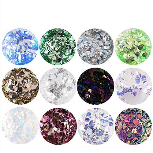 Kapmore Clou Art Sequin Clou Art Briller 12 Couleurs Professionnel Flocon de Diamant 3D Clou Beauté Accessoires pour les Filles