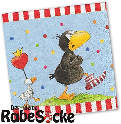 Preisvergleich Produktbild 20 Servietten * DER KLEINE RABE SOCKE * für Kinderparty und Kindergeburtstag von DH-Konzept // Rabe Socke mit Ente // Napkins Papierservietten Party Set