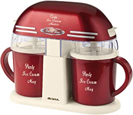 Ariete 00C063100AR0 Twin Ice Cream Maker 631 Party Time im Retro-Design der 50-er Jahre, 9 W, rotmetallic