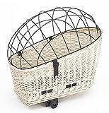 Tigana - Hundefahrradkorb für Gepäckträger aus Weide Weiß 60 x 39 cm mit Metallgitter Kissen Holzstück (W-S-H)
