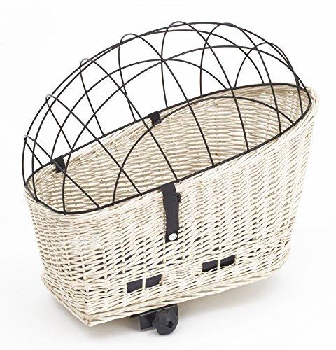 Tigana - Hundefahrradkorb für Gepäckträger aus Weide WEIß 56 x 36 cm mit Metallgitter Tierkorb Hinterradkorb Hundekorb für Fahrrad + Kissen (W-S)