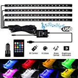 kdorrku USB LED Streifen Led Innenbeleuchtung Auto Musik Sync LED Leuchten für Innenräume Kit RGB Wasserdicht LED Stripes, Auto Lichtleiste mit Sound Active Funktion und kabelloser Fernbedienung,4x22cm[Energieklasse A+]