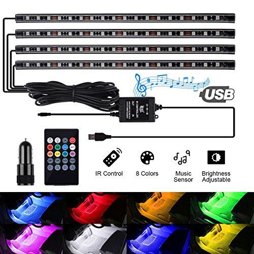 Preisvergleich Produktbild kdorrku USB LED Streifen Led Innenbeleuchtung Auto Musik Sync RGB Wasserdicht LED Stripes,  Auto Lichtleiste mit Sound Active Funktion und kabelloser Fernbedienung