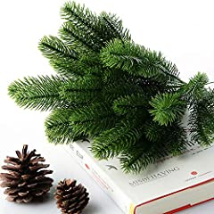 Idea Regalo - SANGDA, Rami di Pino Artificiali, Ghirlanda di Natale Artificiale, Accessori Fai da Te per Decorazioni Festive (50 Pezzi, 24 x 8 cm), PVC, Green, 24x8cm