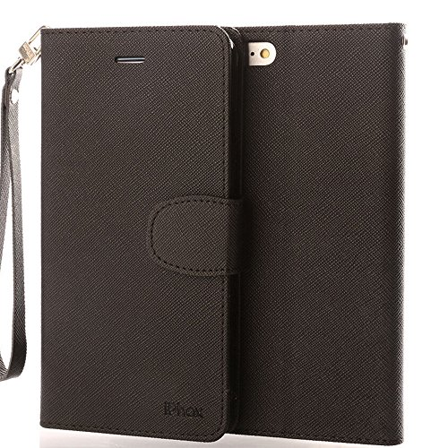Price comparison product image iPhone 6S Plus Leather Case,iPhone 6 Plus Leather Case, IPHOX Premium Folio Leather Wallet Case with [Kickstand] [Card Slots] [Magnetic Closure] [Hand Strap] Flip Notebook Cover Case for iPhone 6/6S Plus- Black/ C