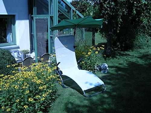 Les terrasses de jardin sET sont loisirs-tERASSENLIEGE jAN kURTZ chaise longue sAMBA 5,4 kG seulement-couleur : gris-argenté-oUTDOOR chaise longue fussteil suspension avec dossier haut-charge maximale : 120 kG-châssis en aLUMINIUM-sTABIELO fächerschirm holly-vert clair-holly sunshade ®-système breveté innovation fabriqué en allemagne-disponible également en n et pistache fÄCHERSCHIRME voir fARBTABELLE-tAUPE zANGENBERG hUSUM -