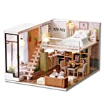 DIY Miniature Loft Dollhouse Kit Realistic Mini 3D Wooden House Room Toy with Furniture LED Lights Christmas Children's...