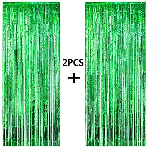 ONUPGO 2 Stück Grün Folienvorhänge Fransen, 1 m x 3 m, glänzendes Metallic-Lametta-Vorhang für Neujahr, Fotokabine, Türvorhang, perfekt für Geburtstag, Hochzeit, Weihnachten, Party-Dekorationen