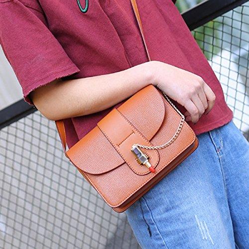 Weibliche mode tasche Schulter diagonal Kreuz das kleine paket Braun