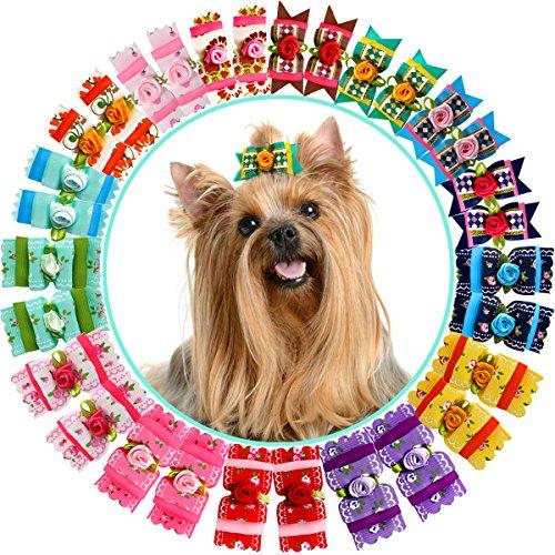 HOLLIHI - Juego de 30 lazos de grogrén para el pelo de mascotas con bandas elásticas de goma, accesorios para el cuidado de perros y gatos