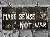 Postkarte XXL Panorama Graffiti Make Sense Not War