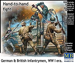 Masterbox Hand to Hand Fight/German and British Infantrymen/WWI Kit de construcción, Lucha Mano a Mano, Escala 1:35 (Gris)