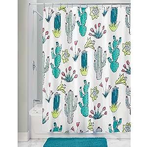 InterDesign Novelty EVA/PEVA Tende per doccia in tessuto impermeabile, Tenda vasca da bagno in poliestere con allegro motivo a cactus, grigio e bianco