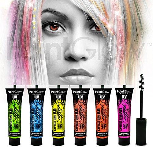 paintglow UV Neon Glitzer Haar Streifen (6Pack) Glitter Glow Haarspray Haarfarbe