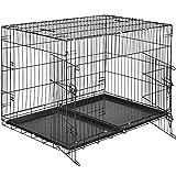 TecTake Hundekäfig Gitterbox Transportbox | 2 große Türen mit Riegeln | Zusammenklappbar - Verschiedene Größen (106 x 70 x 76 cm | Nr. 402296)